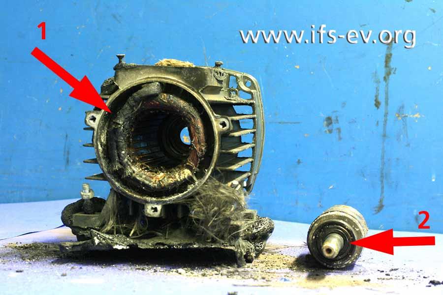 An der zerlegten Pumpe sieht man starke Brandschäden an der Statorwicklung des Motors (1); der Läufer (2) wurde zur Untersuchung herausgezogen.