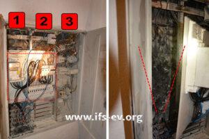 Im Verteilerschrank gibt es zwei Zählerplätze (1 und 2) und einen Verteilungsteil (3). Das rechte Bild zeigt die Rückseite der Elektroverteilung mit einem Brandtrichter im Bereich des 1. Zählerplatzes.