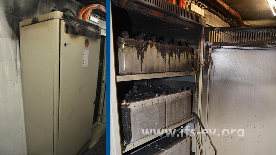 Der Batterieschrank ist insbesondere im oberen Bereich beschädigt. Im Inneren (rechtes Bild) sind die Batterien zu erkennen.