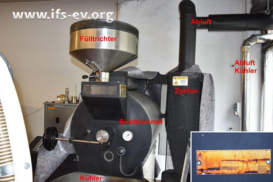 An der Kaffeeröstanlage sind auf den ersten Blick keine Brandspuren erkennbar. Nur das Typenschild (kleines Bild) deutet auf den Schaden hin.