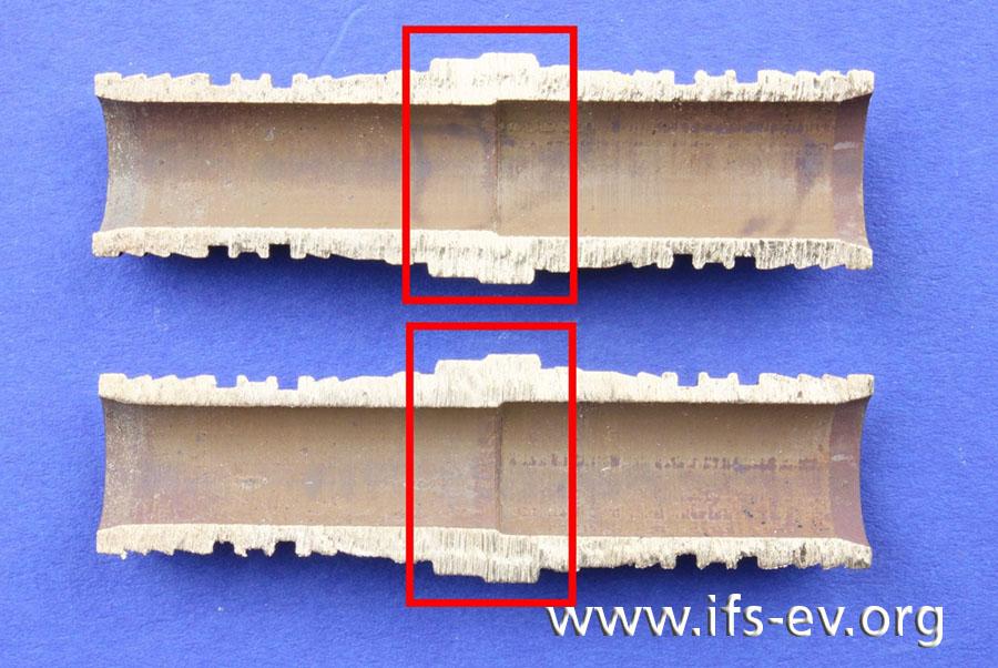 Im Querschnitt durch das Fitting ist der geringere Innen- und Außendurchmesser des Grundkörpers auf der linken Seite zu erkennen.