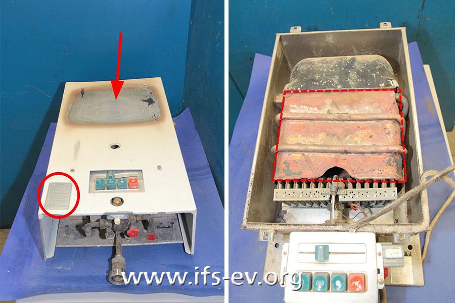 Die Gas-Wassertherme: Links fällt die Verfärbung am Metallgehäuse auf. Dahinter verbirgt sich der Wärmetauscher des Gerätes, der auf dem rechten Bild markiert ist.