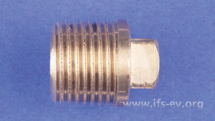 Für einen dauerhaften Verschluss einer Trinkwasserleitung hätte ein Blindstopfen dieser Art verwendet werden müssen.
