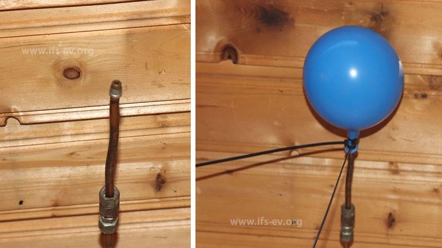 Die offene Kupferleitung hinter dem Sofa: Bei der Druckprüfung füllt sich der Ballon mit Luft - der Leitungsabschnitt ist noch angeschlossen.