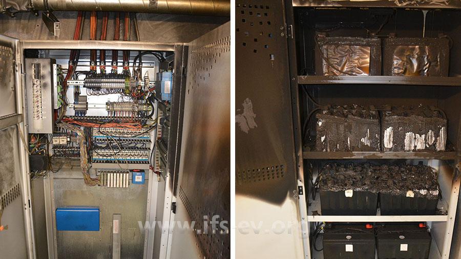 Blick in den Schaltschrank (links) und den Batterieschrank (rechts) der Anlage