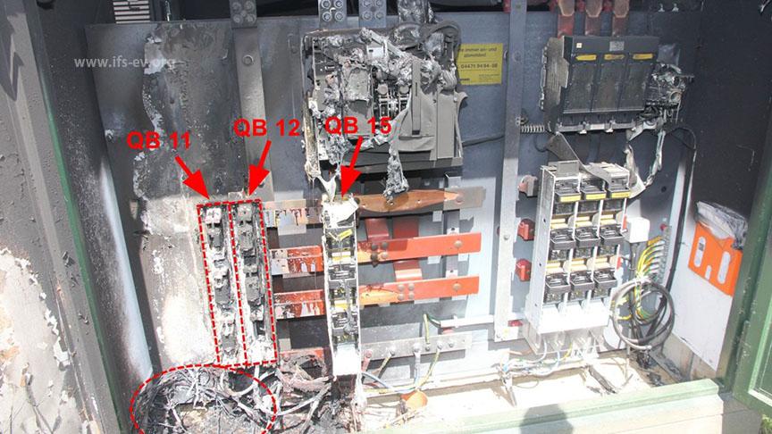 Es gibt einen Brandschwerpunkt an den beiden Lastschaltleisten QB 11 und 12.