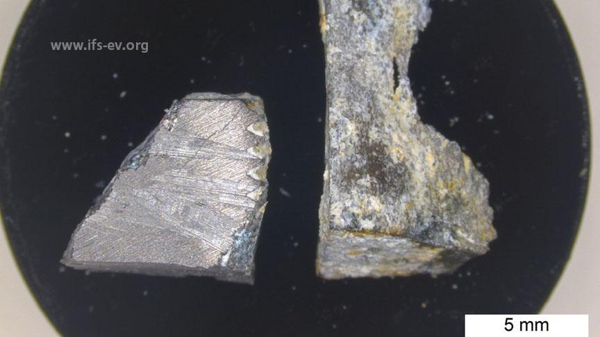 Bruchstücke des Grundkörpers werden im Elektronenmikroskop untersucht.