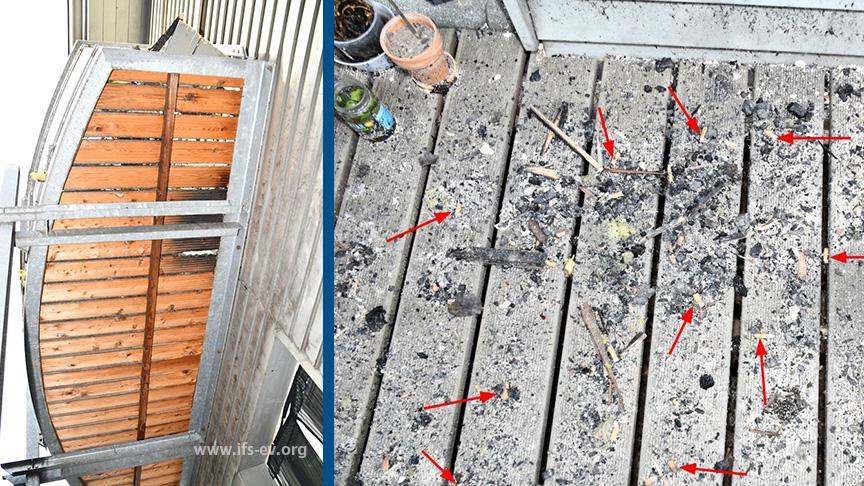 Die Pfeile markieren Zigarettenkippen, die auf dem unteren Balkon gelandet sind. Beim Blick nach oben sieht man angebrannte Dielen vom Balkon darüber.