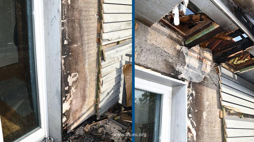 Die Brandschäden an der Außenwand und am Dachüberstand