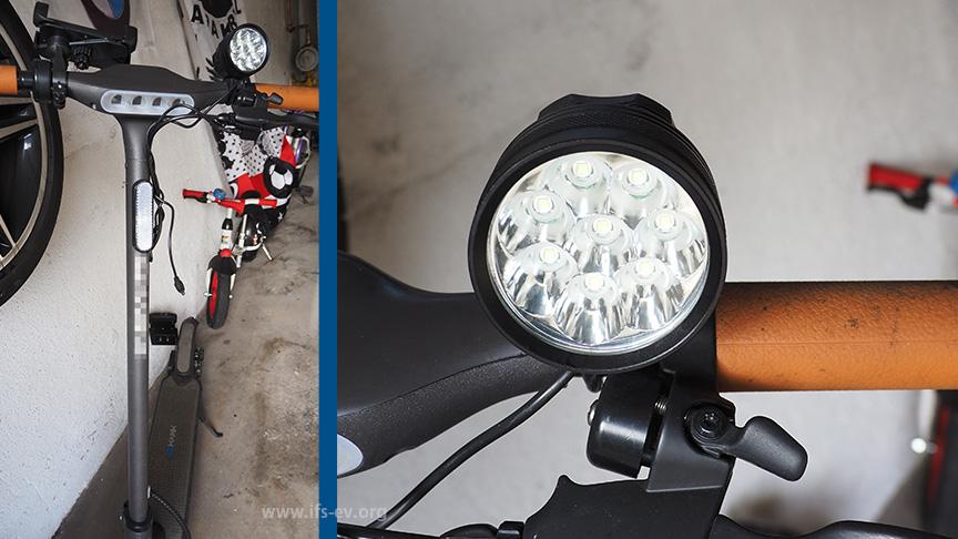 Der E-Scooter ist mit einer zusätzlichen LED-Leuchte ausgestattet.