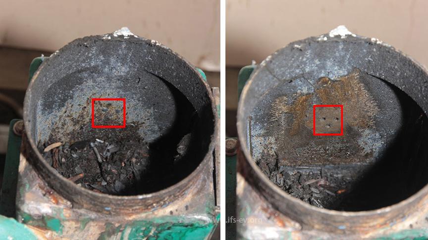 Hier sind die Einspritzöffnungen zu erkennen: Auf dem rechten Bild wurden sie vom Brandursachenermittler gereinigt.