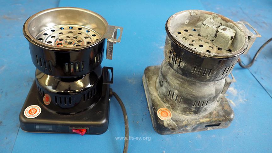Der Kohleanzünder aus dem Brandfall und ein Vergleichsgerät werden im Labor untersucht.