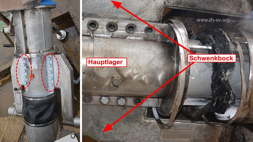 Das rechte Bild zeigt den Schwenkblock des alten Rührwerkes mit den fehlenden Schrauben. Auf dem linken Bild ist der graue Anstrich an den Schraubverbindungen des neuen Rührwerkes zu erkennen.