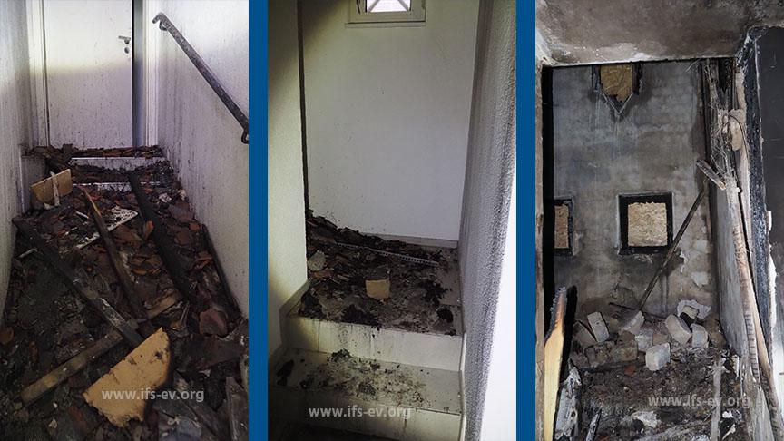 Impressionen aus dem ausgebrannten Treppenhaus